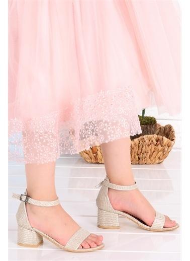 Kiko Kids  041 Elmnt Simli Kız Çocuk 3 Cm Topuk Sandalet Ayakkabı Altın